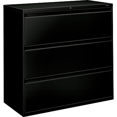 HON Brigade 800 Series Lateral File Cabinet, 42in. Wide, 3-Drawer, Black