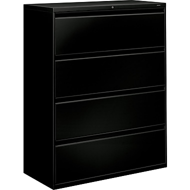 HON® Brigade 800 Series Lateral File Cabinet, 42in. Wide, 4-Drawer, Black