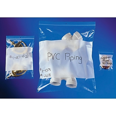 4-Mil Reclosable Polyethylene Bags with White I.D. Block and Hang Hole, 6
