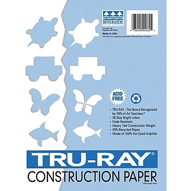 Tru-Ray® Sulphite Construction Paper, 12in. x 18in., Blue, 50 Sheets
