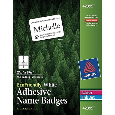 Avery® EcoFriendly White Multipurpose Name Badge Labels, 2 1/3in. x 3 3/8in., 160/Pack
