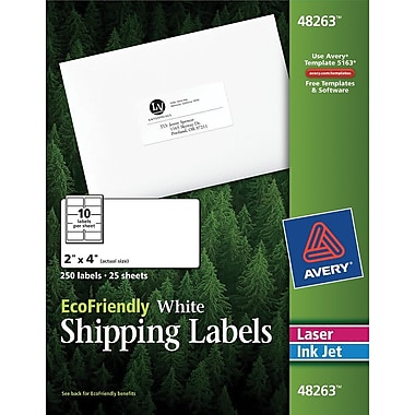 Avery® 48263 EcoFriendly White Inkjet/Laser Shipping Labels, 2in. x 4in., 250/Box