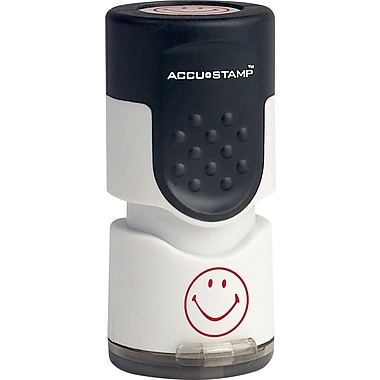 Accu-Stamp® Round Pre-Inked Stamps, Smiley Face, Red