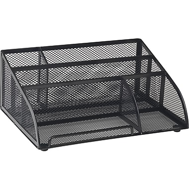 Staples® Black Wire Mesh All-in-One 5 Compartment Desk Organizer