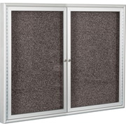 Best-Rite 4'W x 4'H 2-Door Enclosed Bulletin Board with Black Recycled Rubber-Tak/Aluminum Frame 94PSD-I-96