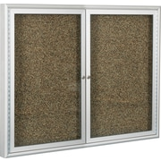 Best-Rite 2-Door Enclosed 4' x 4' Tan Recycled Rubber-Tak Panel/Aluminum Frame Bulletin Board 94PSD-I-95