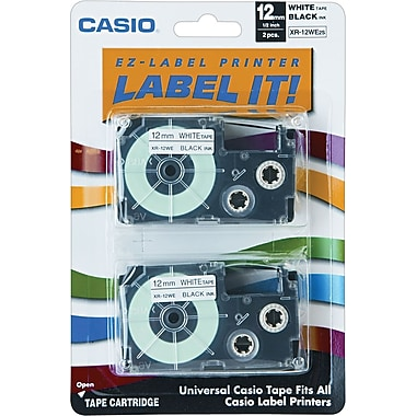 Casio Labeling Tape, 1/2in., Black on White, 2/Pack