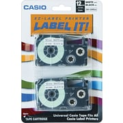 "Casio Labeling Tape, 1/2"", Black on White, 2/Pack"