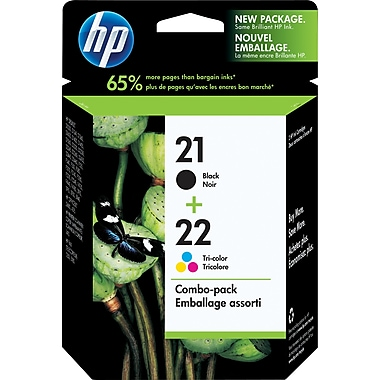 HP 21 Black & 22 Tri-Colour Original Ink Cartridges, 2/Pack (C9509FN)