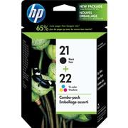 HP – Cartouches jet d'encre noire et tricolore 21/22, paquet combiné (C9509FC)