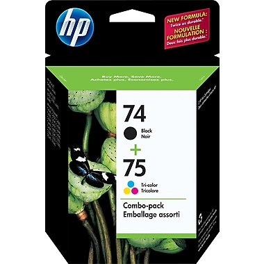 HP 74 Black & 75 Tri-Color Original Ink Cartridges, 2/Pack (CC659FN)