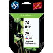 HP 74 Black & 75 Tri-Color Original Ink Cartridges, 2/Pack (CC659FN)