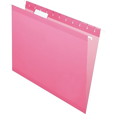 Pendaflex® Reinforced Hanging File Folders, 5 Tab Positions, Letter Size, Pink, 25/Box (4152 1/5 PIN)