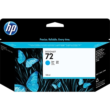HP C9371A 72 Ink Cartridge, Cyan, 130mL