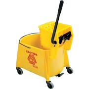 Rubbermaid WaveBrake® Mop Bucket/Side-Press Wringers, Yellow, 44-Quart Capacity