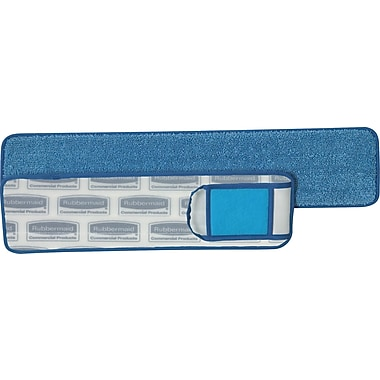 Rubbermaid HYGEN™ Microfiber Damp Mop Pad with Scrubber, Wet, Blue, 18in.