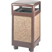 Rubbermaid® Aspen Series 29 gal Steel/Stone Panel Decorative Waste Container, Brown (FGR36HT)