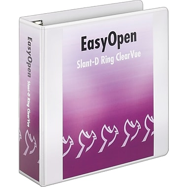 Cardinal Easy Open ClearVue 3-Inch Slant-D 3-Ring View Binder, White (10330)