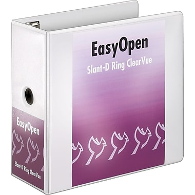 Cardinal Easy Open ClearVue 5-Inch Slant D-Ring Binder, White (10350)