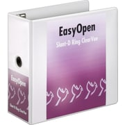 5 Cardinal® EasyOpen® ClearVue™ Binder with Locking D-Rings, White