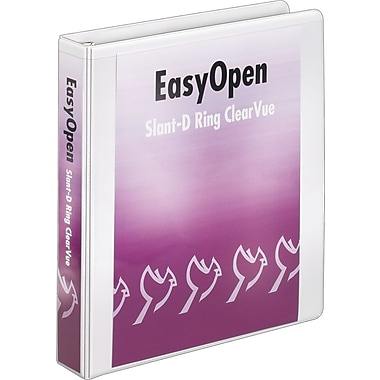 Cardinal Easy Open ClearVue 1.5-Inch Slant D 3-Ring Binder, White (10310)