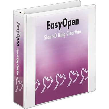 Cardinal Easy Open ClearVue 2-Inch Slant D 3-Ring Binder, White (10320)
