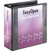 Cardinal EasyOpen ClearVue 4-Inch D 3-Ring View Binder, Black (10341)