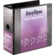 Cardinal EasyOpen ClearVue 5-Inch D 3-Ring Binder, Black (10351)