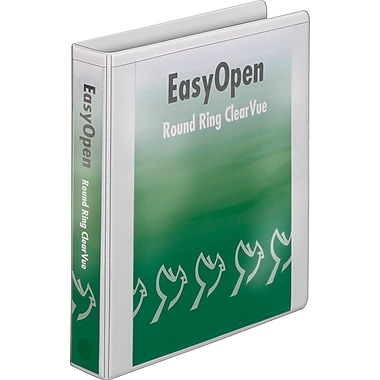 1-1/2in. Cardinal® EasyOpen® ClearVue™ Binder with Round Rings, White