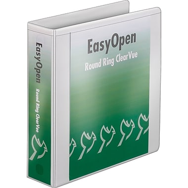 Cardinal 2in. Easy Open ClearVue Binders with Round Rings, White