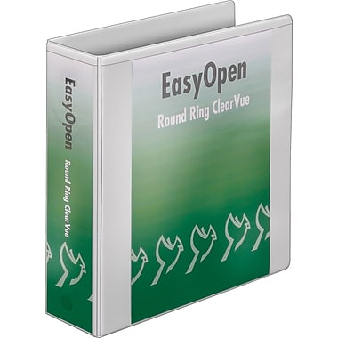 3in. Cardinal® EasyOpen® ClearVue™ Binder with Round Rings, White