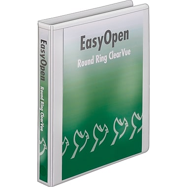 1in. Cardinal® EasyOpen® ClearVue™ Binders with Round Rings, White