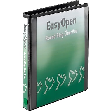 Cardinal 1in. Easy Open ClearVue Binders with Round Rings, Black