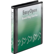 "Cardinal 1"" Easy Open ClearVue Binders with Round Rings, Black"