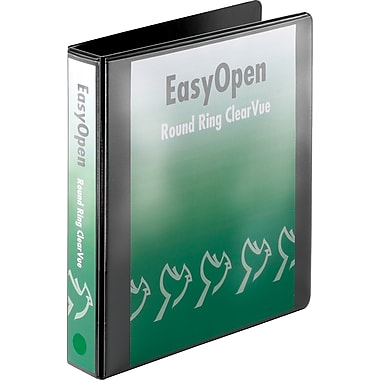 1-1/2in. Cardinal® EasyOpen® ClearVue™ Binder with Round Rings, Black