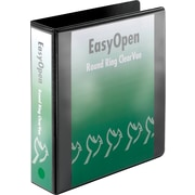 Cardinal 2 Easy Open ClearVue Binders with Round Rings, Black