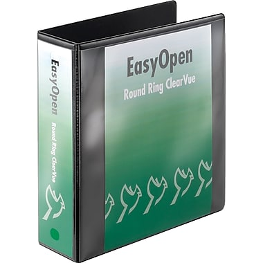 3in. Cardinal® EasyOpen® ClearVue™ Binder with Round Rings, Black