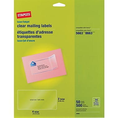 Staples Clear Inkjet/Laser Shipping Labels, 2in. X 4in., 500/Box