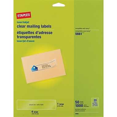 Staples Clear Inkjet/Laser Address Labels, 1in. X 4-1/8in., 1,000/Box