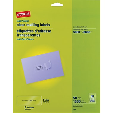 Staples Clear Inkjet/Laser Address Labels; 1in. X 2-5/8in., 1,500/Box