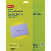 "Staples 1"" x 2-5/8"" Inkjet/Laser Address Labels, Clear, 1,500/Box (18081/SLCK105)"