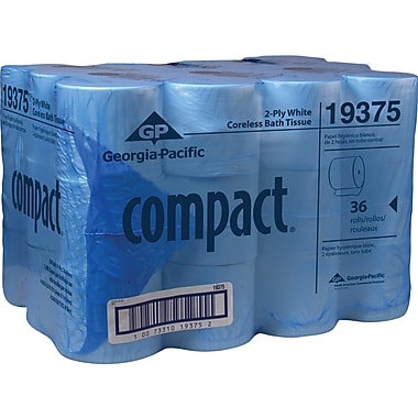 Georgia-Pacific® 100% Recycled Compact Coreless Bath Tissue Rolls, 2-Ply, 36 Rolls/Case