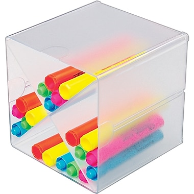 Deflecto® Stackable Cubes Desktop Organizers, With X-Divider