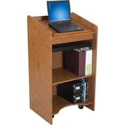 Balt® Wooden Floor Lectern, Medium Oak Finish