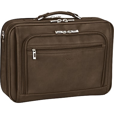 SOLO® Full-Grain Dark Brown Leather Laptop Case, 15.4in.