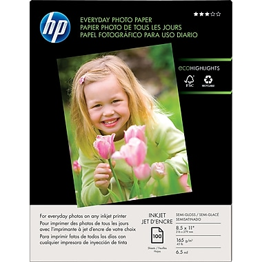 HP Everyday Photo Paper, 8 1/2in. x 11in., Gloss, 100/Pack
