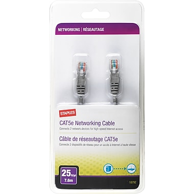 Staples 25' CAT5e Patch Cable - Gray