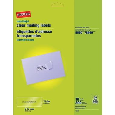 Staples® Clear Inkjet/Laser Address Labels, 1in. x 2-5/8in., 300/Box