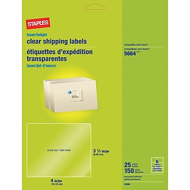 Staples® Clear Inkjet/Laser Shipping Labels, 3 1/3