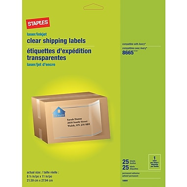 Staples® Clear Inkjet/Laser Shipping Labels, 8 1/2in. x 11in., 25/Box